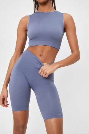 NASTY GAL Womens Seamless Racer Neck And Cycling Short - - S